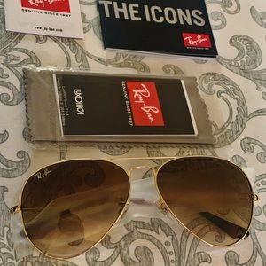 Brand new brown RayBan aviator sunglasses size 58